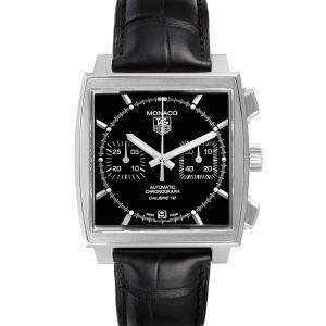 Tag Heuer Black Stainless Steel Monaco Automatic CAW2110 Men's Wristwatch 39 MM