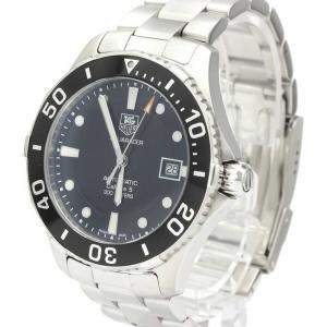Tag Heuer Black Stainless Steel Aquaracer Automatic WAN2110 Men's Wristwatch 41 MM