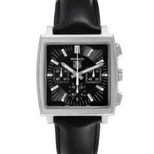 Tag Heuer Black Stainless Steel Monaco Automatic CW2111 Men's Wristwatch 38.5 MM