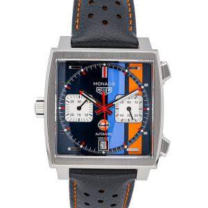 Tag Heuer Blue Stainless Steel Monaco Calibre 11 Chronograph Gulf Special Edition CAW211R.FC6401 Men's Wristwatch 39 MM