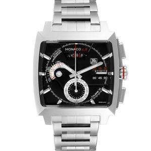 Tag Heuer Black Stainless Steel Monaco LS Chronograph CAL2110 Men's Wristwatch 40.5 MM
