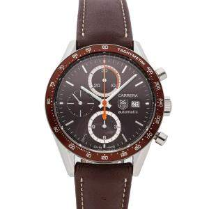 Tag Heuer Brown Stainless Steel Carrera Chronograph CV2013.FC6234 Men's Wristwatch 41 MM