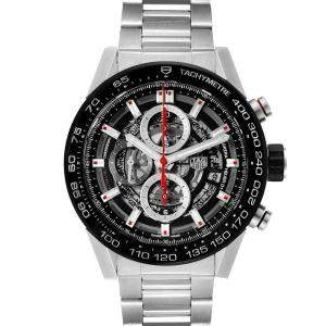 Tag Heuer Black Stainless Carrera Chronograph CAR2A1W Men's Wristwatch 45 MM
