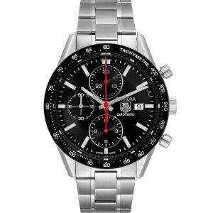 Tag Heuer Black Stainless Steel Carrera Chronograph CV2014 Men's Wristwatch 41 MM