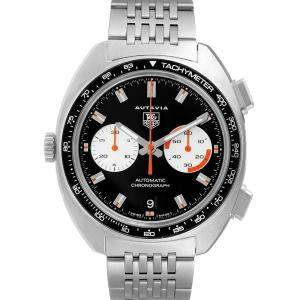 Tag Heuer Black Stainless Steel Autavia Automatic Chronograph CY2111 Men's Wristwatch 43 MM