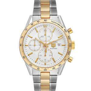 Tag Heuer Silver 18K Yellow Gold And Stainless Steel Carrera Chronograph CV2050 Men's Wristwatch 41 MM