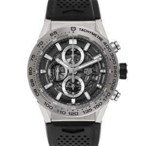 Tag Heuer Grey Titanium Carrera Calibre Heuer 01 CAR2A8A Men's Wristwatch 45 MM