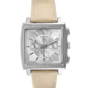 Tag Heuer Silver Stainless Steel Monaco Automatic CW2112 Men's Wristwatch 38.5 MM