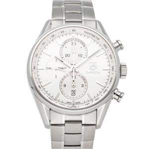 Tag Heuer Silver Stainless Steel Carrera Chronograph CAR2111.FC6266 Men's Wristwatch 41 MM