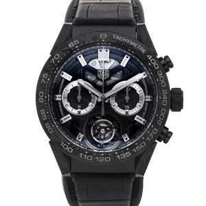 Tag Heuer Black Carbon And Titanium Carrera Chronograph Tourbillon Limited Edition CAR5A8P.FC6415 Men's Wristwatch 45 MM