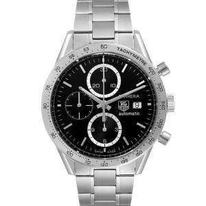 Tag Heuer Black Stainless Steel Carrera Chronograph CV2016 Men's Wristwatch 41 MM