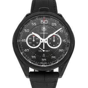 Tag Heuer Black Carbon Carrera Chronograph CAR2C90.FC6341 Men's Wristwatch 45 MM