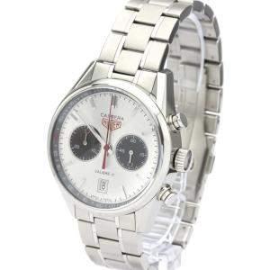 Tag Heuer Silver Stainless Steel Carrera Chronograph Caliber 17 Jack Heuer CV2119 Men's Wristwatch 41 MM