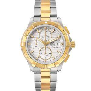 Tag Heuer Silver 18k Yellow Gold And Stainless Steel Aquaracer Chronograph CAP2120 Men's Wristwatch 43 MM
