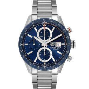 Tag Heuer Blue Stainless Steel Carrera Calibre 16 Chronograph CBM2112 Men's Wristwatch 41 MM