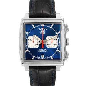 Tag Heuer Blue Stainless Steel Monaco Automatic Chronograph CW2113 Men's Wristwatch 38 MM