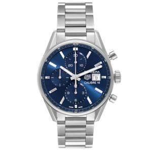 Tag Heuer Blue Stainless Steel Carrera Calibre 16 Chronograph CBK2112 Men's Wristwatch 41 MM