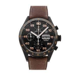 TAG Heuer Black PVD Coated Titanium Carrera Chronograph CV2A84.FC6394 Men's Wristwatch 43 MM