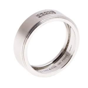 Tiffany & Co. 18K White Gold and Diamonds Century Wedding Band Ring Size 68.5