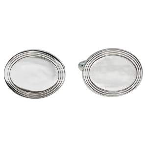 Tiffany & Co. Sterling Silver Engine Turned Oval Cufflinks