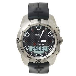 ساعة يد رجالية تيسوت تي-تاتش تي013420أيه مطاط وتيتانيوم أسود 43 مم