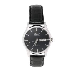 Tissot Black Stainless Steel Leather Heritage Visodate T019.430.16.051.01 Men's Wristwatch 40 mm