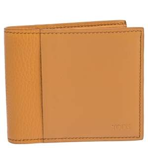 Tod's Orange Leather Bifold Wallet
