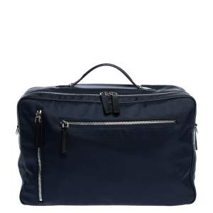 Tod's Navy Blue Nylon Zip Convertible Briefcase/Backpack