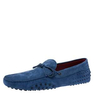 Tod's for Ferrari Blue Suede Bow Loafers Size 44.5
