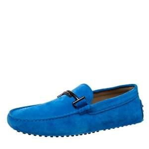 حذاء لوفرز تودز سليب أون حرف تي مزدوج جلد سويدي أزرق مقاس 41