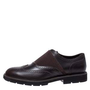 Tod's Brown Brogue Leather Slip On Oxford Size 44.5