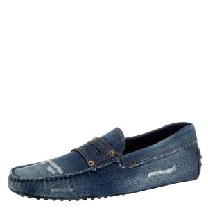 Tod's Blue Denim Fabric Gommino Penny Slip On Loafers Size 43