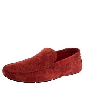 Tod's For Ferrari Red Perforated Suede Gommino Slip On Loafers 44.5