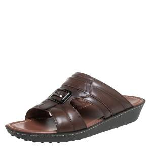 Tod's Brown Leather Slide Sandals Size 42.5