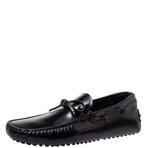 Tod's Black Leather City Gommino Bow Loafers Size 41