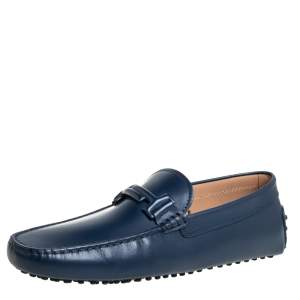 Tod's Blue Leather New Gommino Driving Loafers Size 42