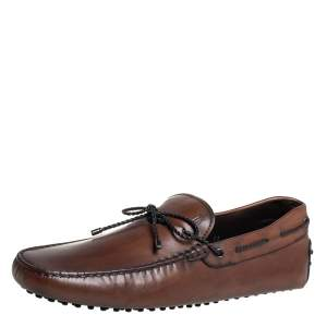 Tod's Brown Leather Braided Bow Slip On Loafers Size 45.5