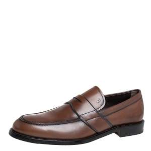 Tod's Brown Leather Penny Slip On Loafers Size 45