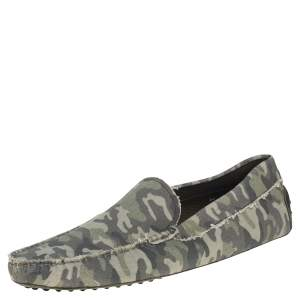 Tod's Green Camouflage Canvas and Leather Gommino Slip On Loafers Size 45.5
