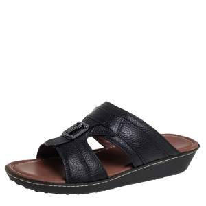 Tod's Black Leather Slide Sandals Size 41