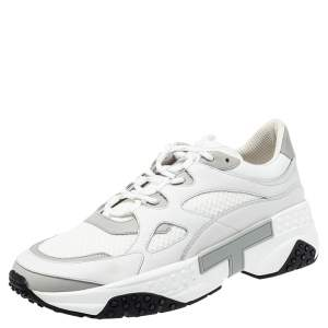 Tod's White Leather and Mesh Active Sporty Sneakers Size 44