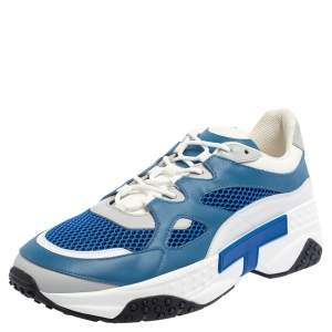 Tod's Blue/White Leather And Mesh Active Sporty Sneakers Size 44