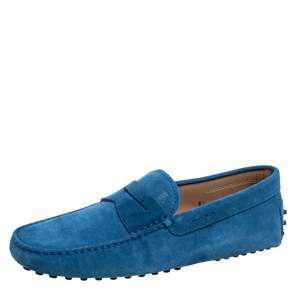 Tod's Blue Suede Penny Slip On Loafers Size 40