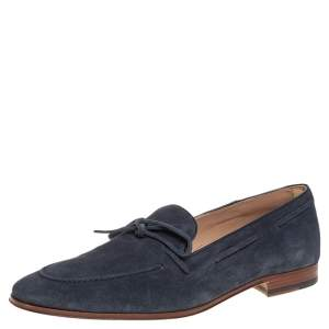 Tod's Blue Suede Bow Slip On Loafers Size 41.5