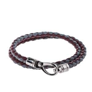 Tod's Mycolors Bicolor Woven Leather Silver Tone Double Wrap Bracelet