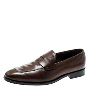 Tod's Brown Leather Penny Loafers Size 42