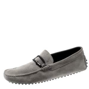 Tod's Grey Suede Braided Bit Loafers Size 41.5