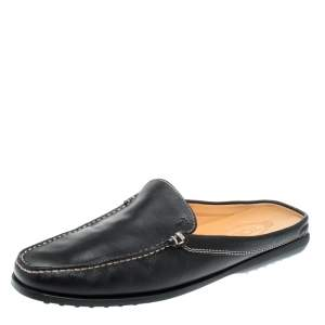 Tod's Black Leather Flat Loafer Mules Size 42.5