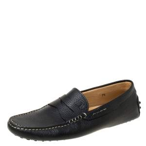 Tod's Black Leather Penny Slip On Loafers Size 41.5