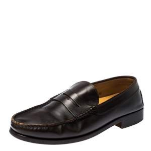 Tod's Dark Brown Leather Penny Loafers Size 44.5